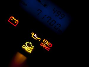 warning lights on car dashboard